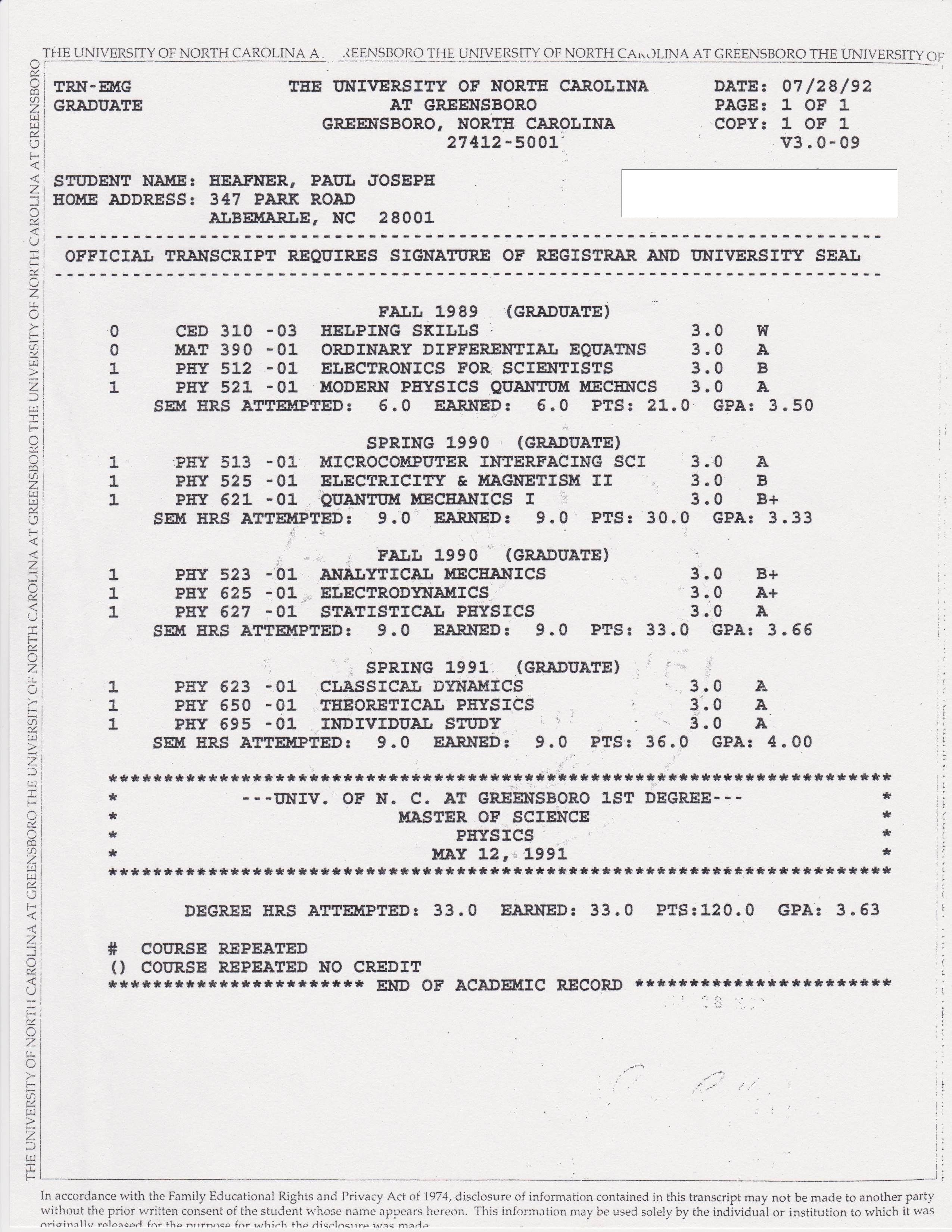 Graduate Transcript